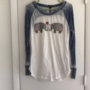 Almost Famous Elephant Long Sleeve Top